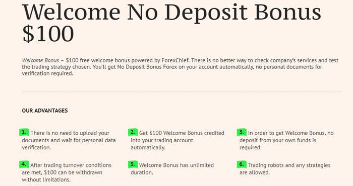 No Deposit Bonus Forex 2018 dari ForexChief